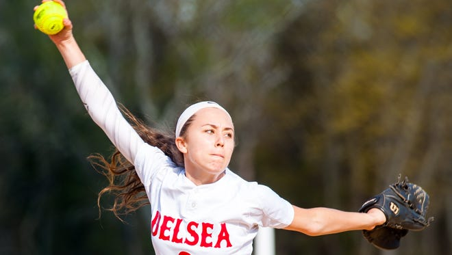 Delsea pitcher Anastasia Reale throws a pitch against Gloucester Catholic on Tuesday. Reale is one of three Crusaders to start a game this season.