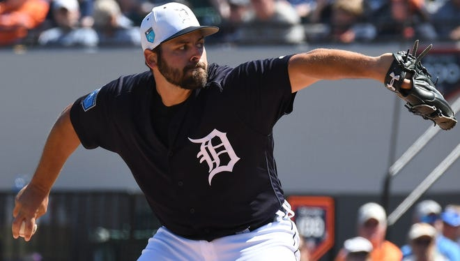 Detroit Tigers pitcher Michael Fulmer (32) pitches in the first inning of a spring training game against the New York Mets at Publix Field at Joker Marchant Stadium on March 9, 2018.