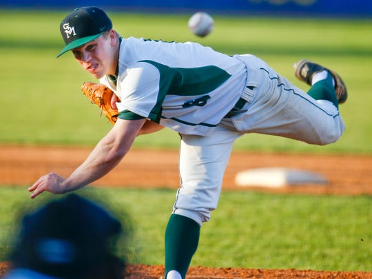 St. Mark's pitcher Andrew Reich throws in the first inning of the Spartans' 11-2 win against Salesianum at Frawley Stadium Tuesday.