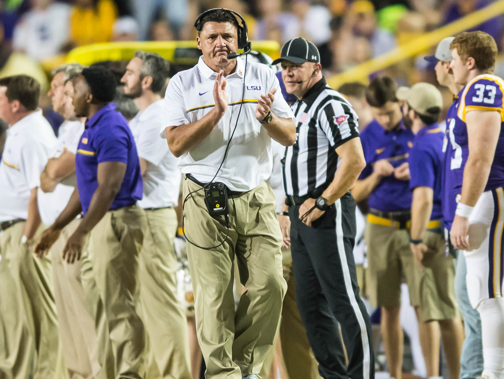 LSU Tigers head coach Ed Orgeron on Saturday October 15, 2016 BUDDY DELAHOUSSAYE/ THE ADVERTISER