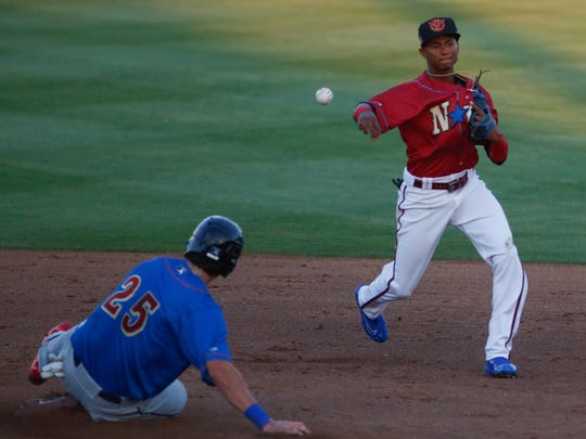 Shortstop Sergio Alcantara turns the double play during the 2017 California League All-Star Baseball Game between the North and South Divisions.