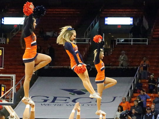The UTEP cheerleaders help introduce the UTEP starting
