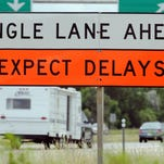 A sign warns motorists of lane closures as part of the State Hwy 172 reconstruction project, in Green BAy, WI Monday, June 29, 2009. Photo by H. Marc Larson/Press-Gazette