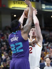 Indiana Pacers forward T.J. Leaf (22) is fouled by
