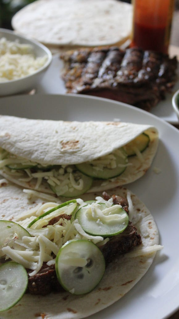 New Mex Carne Asada Tacos With Sliced Cucumbers from