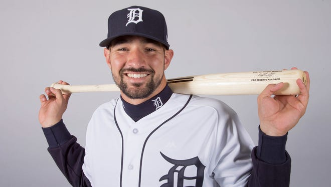 Nicholas Castellanos sports the team's new uniform on Feb. 20 in Lakeland, Fla.