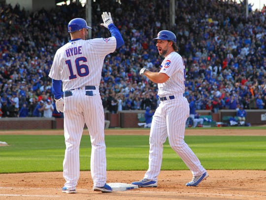 Chicago Cubs center fielder Ryan Kalish (51) celebrates