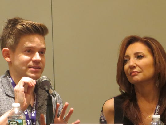 "Andrew Keenan-Bolger and Donna Murphy take part in a panel called ""Auditions: The Good, The Bad, The Hilarious"" during BroadwayCon 2018, held from Jan. 26 to 28, 2018, at the Javits Center in Manhattan."