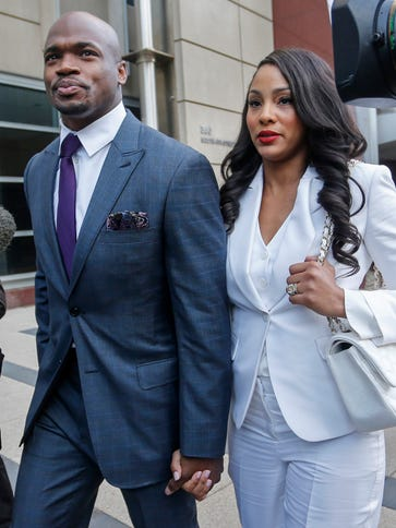 Vikings RB Adrian Peterson and wife Ashley Brown Peterson.