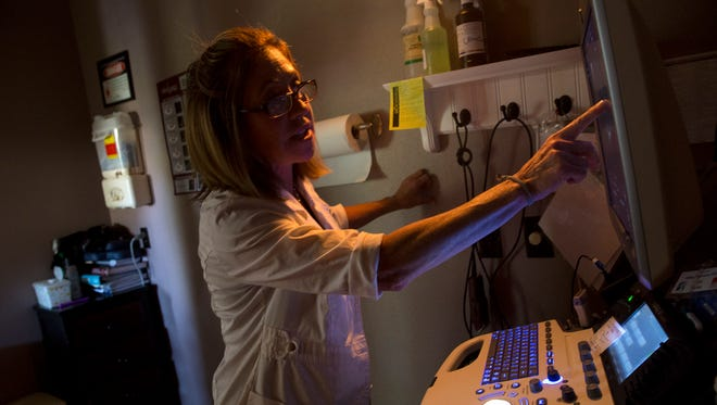 Veterinarian Margie Alvarez looks over an ultrasound echocardiogram Wednesday at Valley Veterinary Clinic in Farmington.