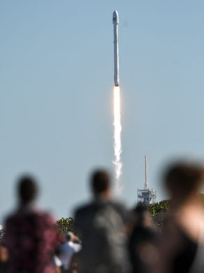 Space Xs Falcon 9 rocket launches by Kennedy Space