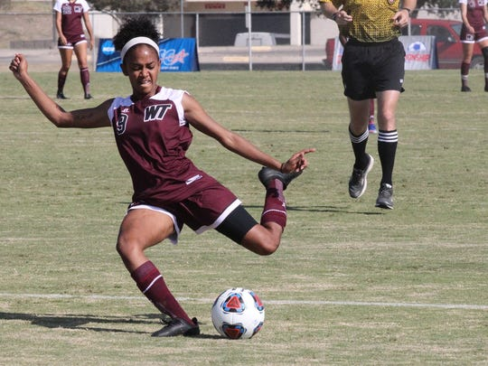 Shanelle Arjoon had the game's only goal to lead West Texas A&M to a 1-0 upset against Angelo State in the Lone Star Conference Women's Soccer Championship Tournament finals at the ASU Soccer Field on Sunday, Nov. 5, 2017.