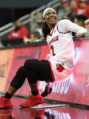 U of L's Myisha Hines-Allen (2) smiled at the crowd