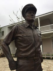 A statue of Adm. Chester Nimitz, fleet commander of