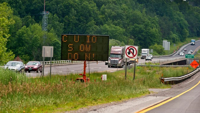 Construction signs on I-89 in South Burlington on July 3. Law enforcement officials are warning drivers to slow down after several incidents in on Interstate 89.
