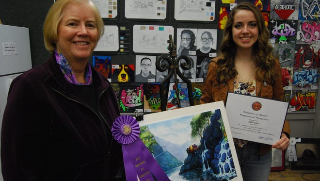 Jillian Oberts, right, won the artistic discovery competition sponsored by U.S. Rep. Candice Miller