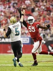 Cardinals linebacker Chandler Jones pressures Jaguars quarterback Blake Bortles last season.