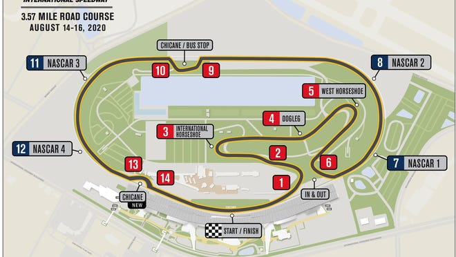 Daytona's Road Course configuration at Daytona International Speedway, which is the same as the Rolex 24 layout except for a temporary chicane added just beyond NASCAR Turn 4.