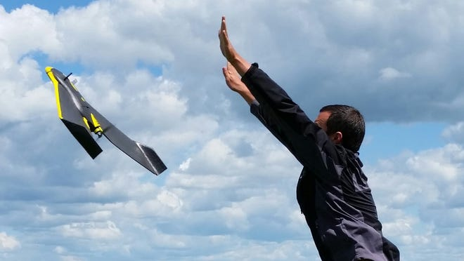 Michael Dunn  launches  an  eBee fixed-wing unmanned aerial vehicle in  a  potato  field  in early July 2014 near Parkers  Prairie.