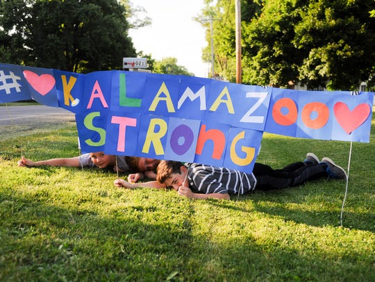 One of the many signs in support of #KalamazooStrong