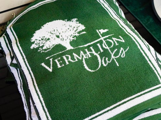 Branded merchandise at Vermilion Oaks Country Club in Abbeville Thurs., June 15, 2017.