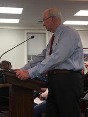 Waynesboro Republicans Chairman Ken Adams addresses city council over the proposed property tax rate increase in the city at a city council meeting on Monday, April 24, 2017.