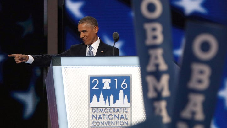 President Obama takes the stage during the Democratic