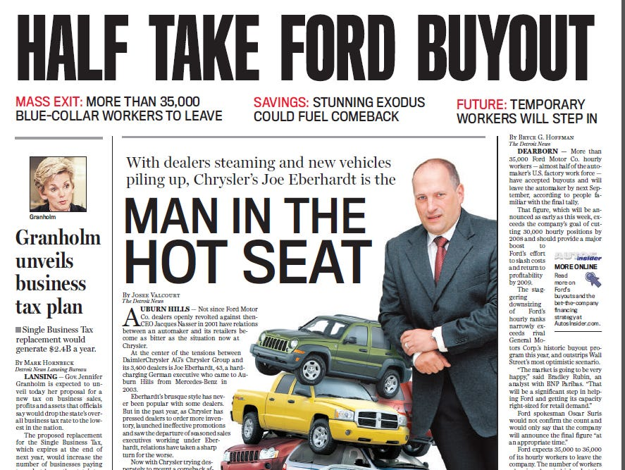 View the front page of The Detroit News each day of the week of November 27, 2006.