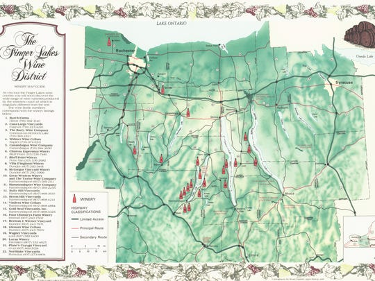 A 1981 map shows 22 wineries in the Finger Lakes and