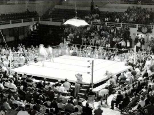 The Virginia Street Gym holds a boxing match in 1970.