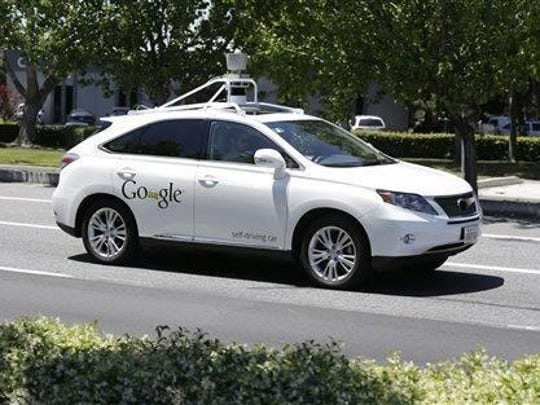 A Google self-driving car on a test drive in Mountain View, California, in May.