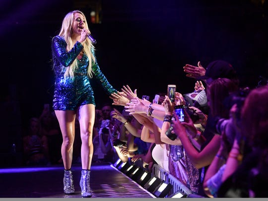 Carrie Underwood performs at the 2018 CMA Music Fest Friday, June 8, 2018, at Nissan Stadium in Nashville, Tenn.
