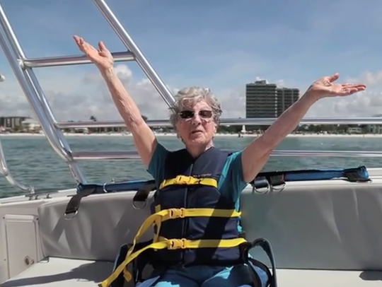 Helen Bass celebrated her 94th birthday by parasailing