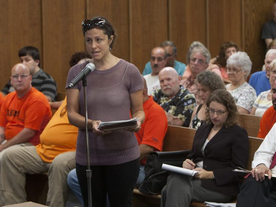 Jaclyn Rhoads of the Pinelands Preservation Alliance spoke against a proposed New Jersey Natural Gas pipeline at a meeting at Manchester's town hall Tuesday.