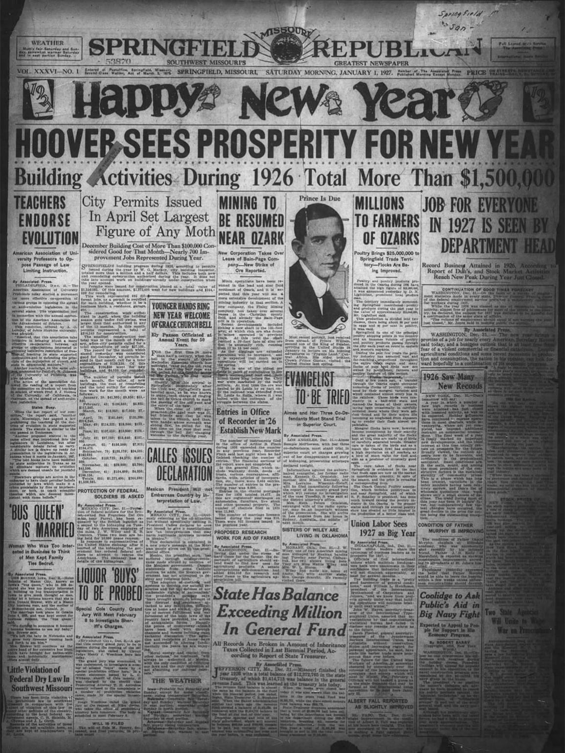 Jan. 1, 1927 edition of the Republican.