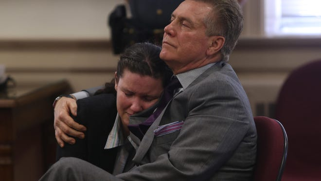 Vanessa Brown is comforted by Defense attorney Edward Bilinkas on Thursday after Brown was found not guilty in Morris County Superior Court of aggravated manslaughter and vehicular homicide in the death of Ralph Politi in East Hanover in 2012.