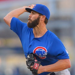Cubs starting pitcher Jake Arrieta in the first inning of the game against the against the Los Angeles Dodgers at Dodger Stadium.