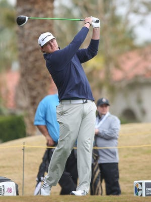 Kenny Pigman tees off on the 9th hole at the Jack Nicklaus Tournament Course at PGA West during the Careerbuilder Challenge, January 19, 2016.