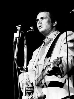 Merle Haggard performs during the Capitol Records pizza party and show at Municipal Auditorium on Oct. 21, 1967.