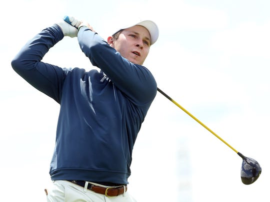 Pingry's Jake Mayer drives off the first tee at the Skyland Conference Tournament on May 3, 2017 at Royce Brook Golf Course.