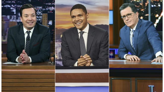 "From left, Jimmy Fallon hosts ""The Tonight Show with Jimmy Fallon,""  Trevor Noah hosts  ""The Daily Show with Trevor Noah"" and Stephen Colbert  hosts ""The Late Show with Stephen Colbert."""