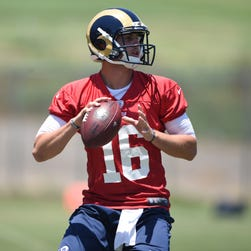 Los Angeles Rams quarterback Jared Goff throws a pass at an organized team activity in June.