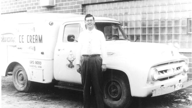 Marvin Schwan stands next to an early Schwan?s delivery truck.  Submitted photo