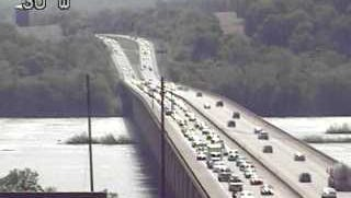 Traffic is backed up on the bridge after a crash on Route 30 east in Lancaster County.
