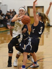 Paramus # 13 Sarah Scerbak drives to the basket Bergen