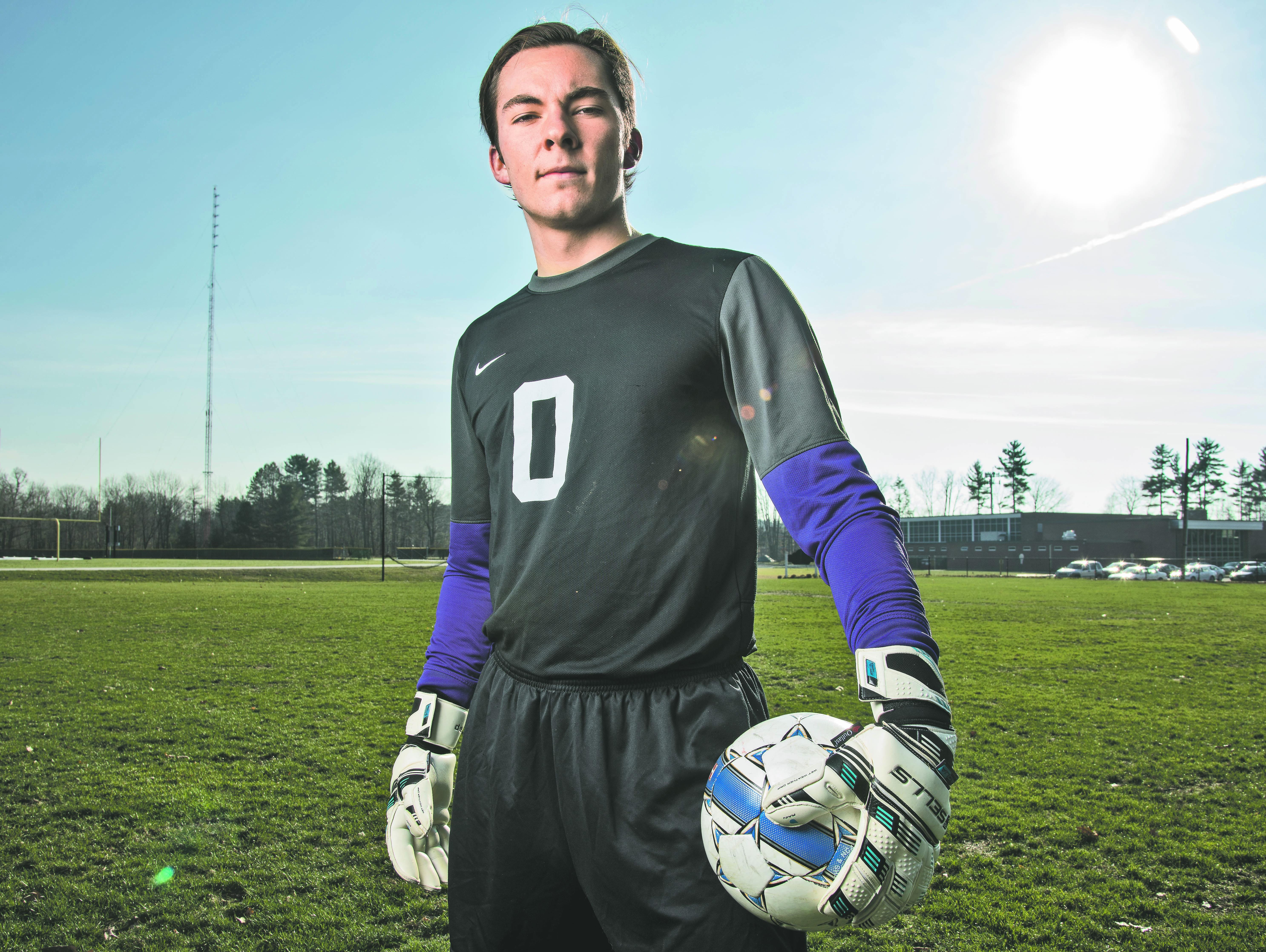 Rice goalie Leland Gazo poses for a portrait at Rice Memorial High School last week. Gazo was named the Burlington Free Press boys soccer player of the year for 2015.