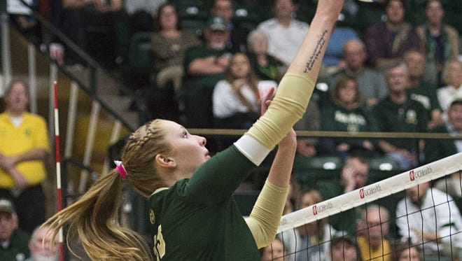 CSU middle blocker Kirstie Hillyer had 13 kills and 10 blocks in the Rams' 3-2 win over TCU on Friday.
