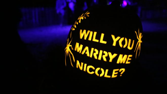 The carved pumpkin with the marriage proposal from Jon Caldwell to Nicole Hughes at the Horseman's Hollow at Philipsburg Manor in Sleepy Hollow, Oct. 8, 2016.
