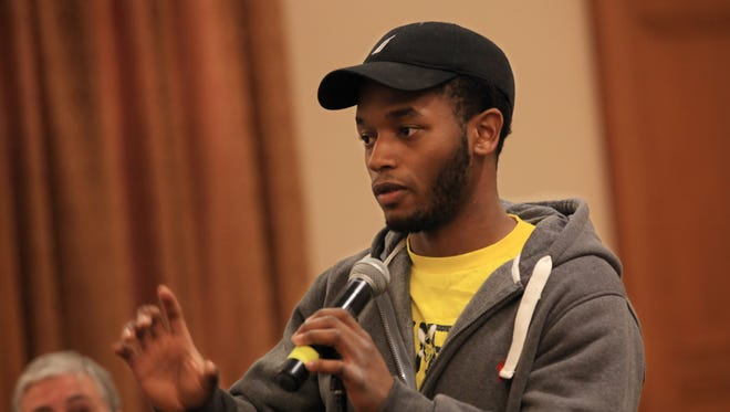 Daniel Southwell, 20 of Rochester asks about what better options are available to connect students to resourceful programs while at a town hall meeting at the University of Rochester on Tuesday, Nov. 1, 2016.