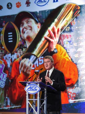 ACC Commissioner John Swofford speaks during the 2017 ACC Kickoff in Charlotte on Thursday, July 13, 2017.